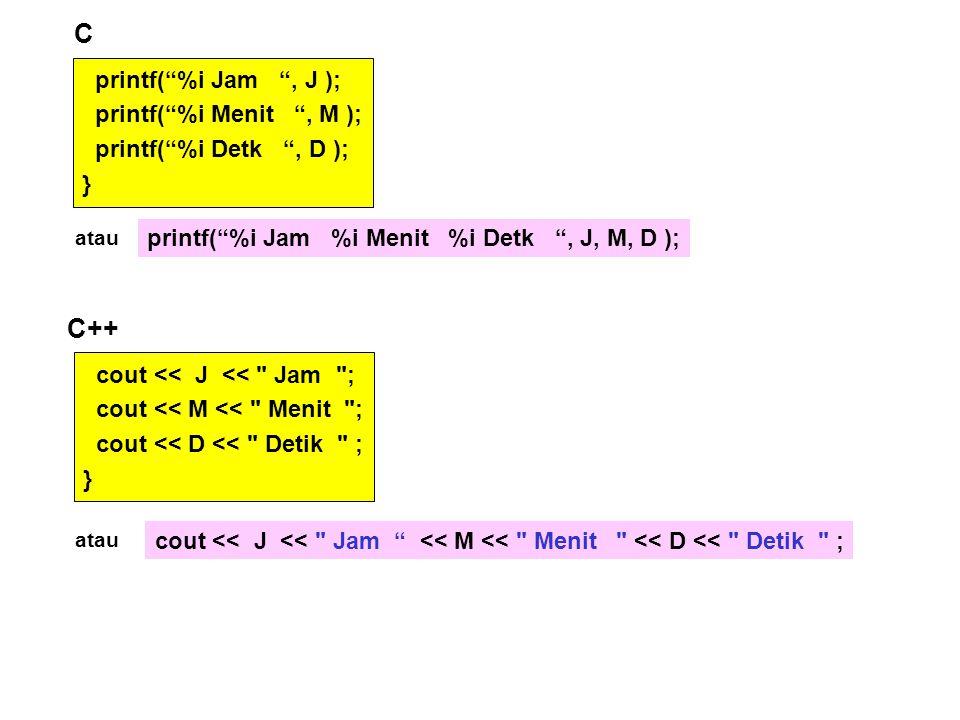 C C++ printf( %i Jam , J ); printf( %i Menit , M );