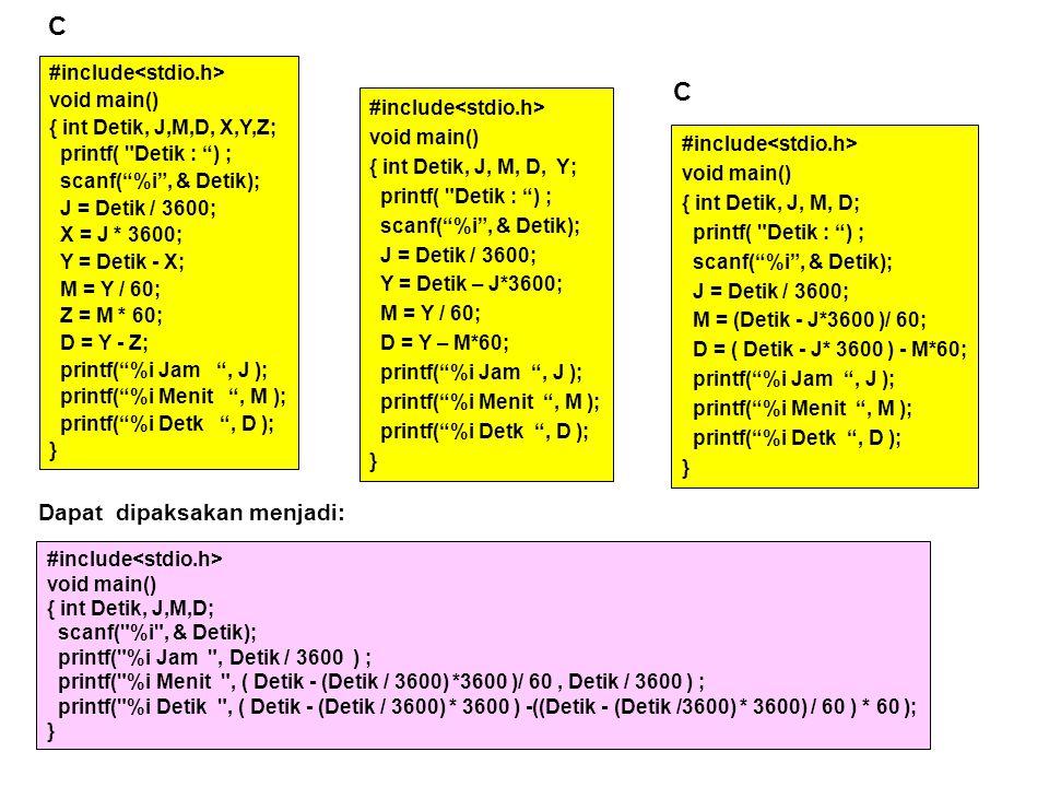 C C Dapat dipaksakan menjadi: #include<stdio.h> void main()