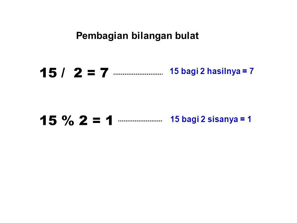 15 / 2 = 7 15 % 2 = 1 Pembagian bilangan bulat 15 bagi 2 hasilnya = 7