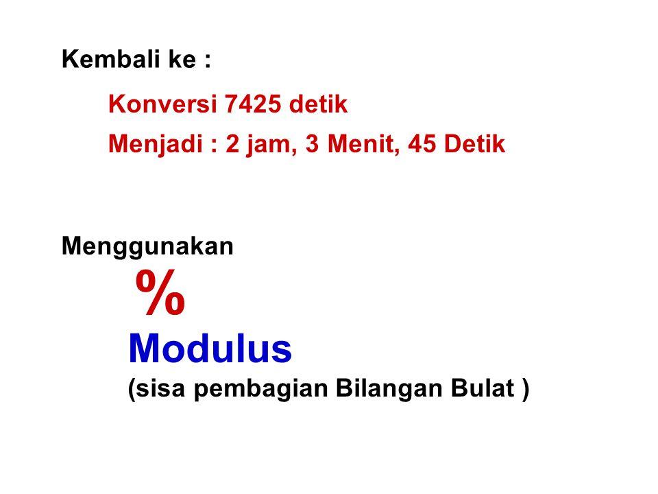 % Modulus Kembali ke : Konversi 7425 detik