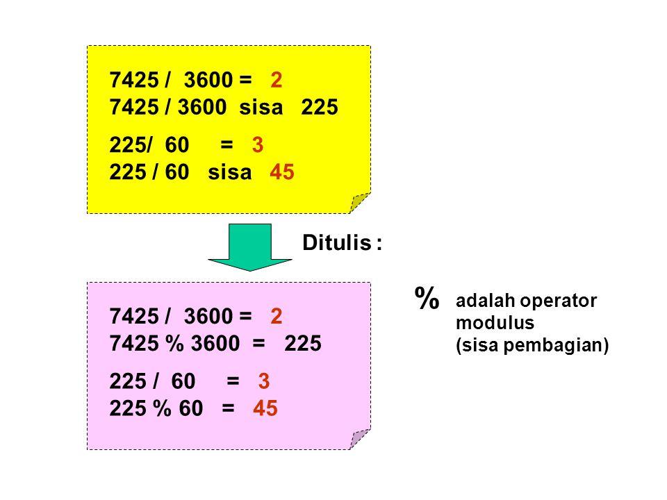 7425 / 3600 = 2 7425 / 3600 sisa 225. / 60 = 3. 225 / 60 sisa 45. Ditulis : % 7425 / 3600 = 2.