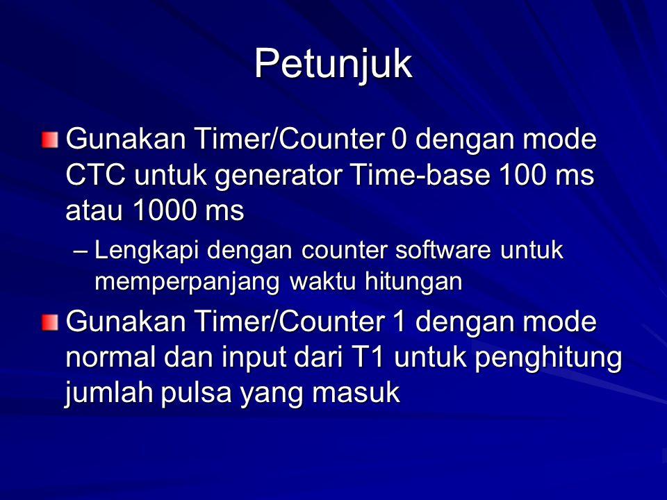 Petunjuk Gunakan Timer/Counter 0 dengan mode CTC untuk generator Time-base 100 ms atau 1000 ms.