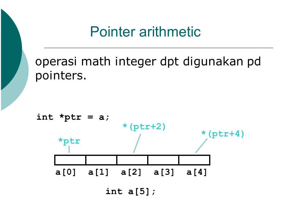 Pointer arithmetic operasi math integer dpt digunakan pd pointers.