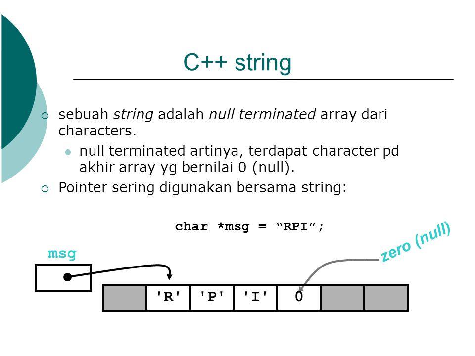 C++ string zero (null) msg R P I