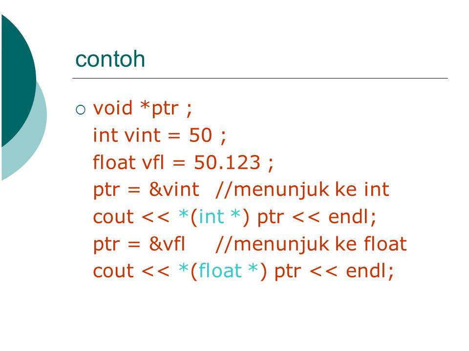 contoh void *ptr ; int vint = 50 ; float vfl = 50.123 ;