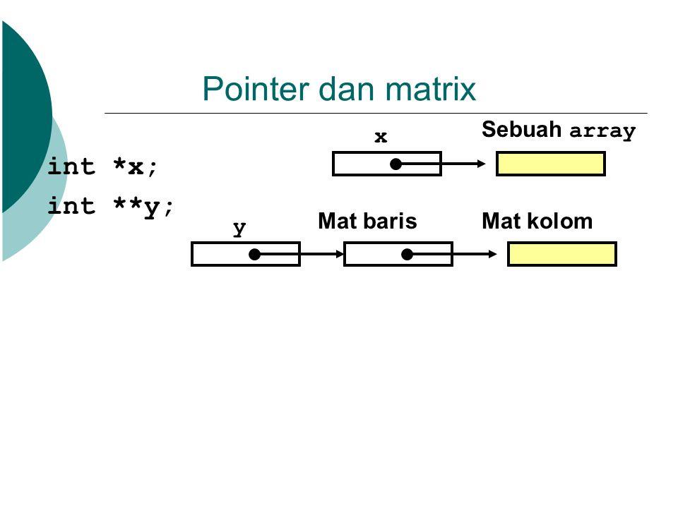 Pointer dan matrix int *x; int **y; Sebuah array x Mat baris Mat kolom