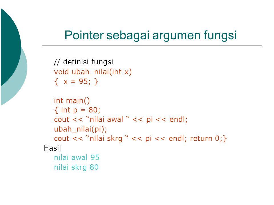 Pointer sebagai argumen fungsi
