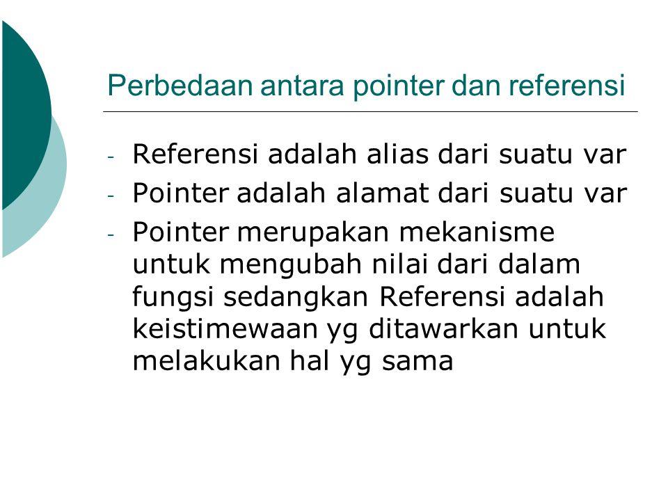 Perbedaan antara pointer dan referensi