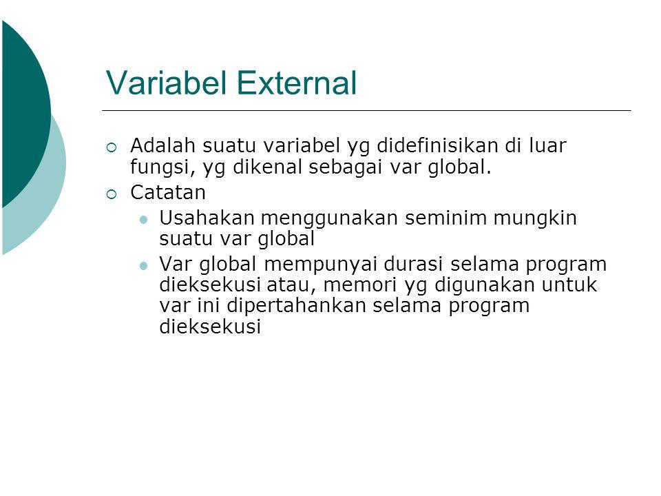 Variabel External Adalah suatu variabel yg didefinisikan di luar fungsi, yg dikenal sebagai var global.