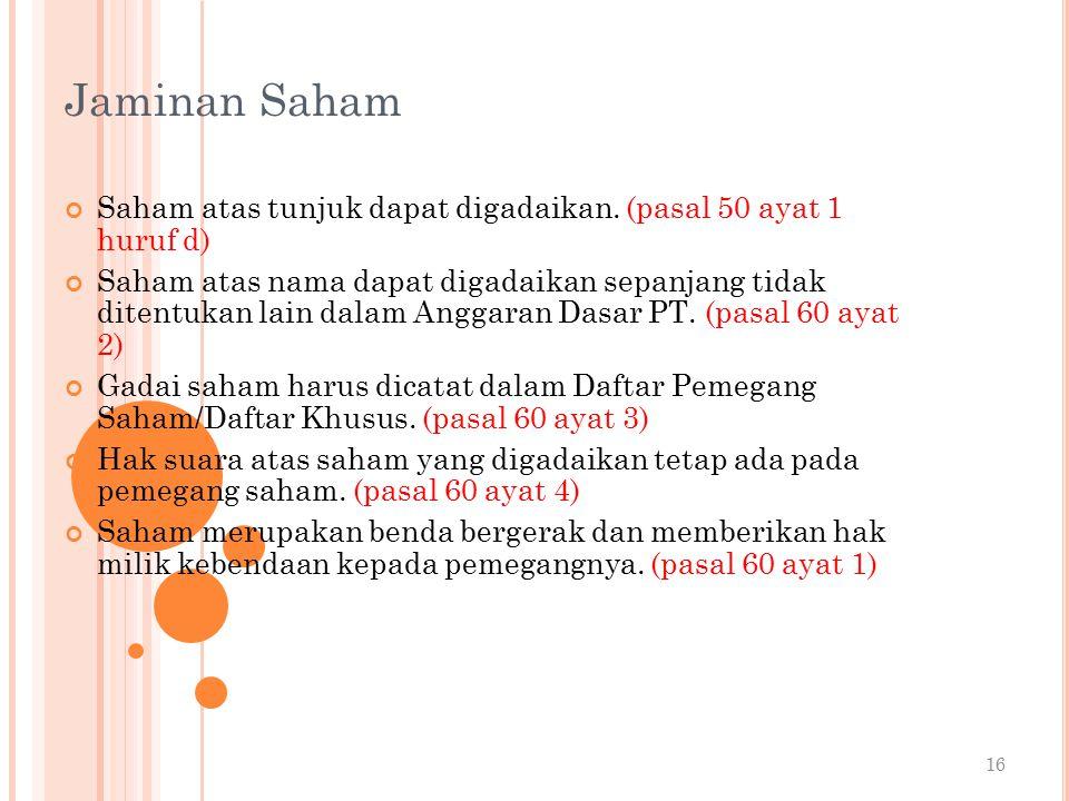Jaminan Saham Saham atas tunjuk dapat digadaikan. (pasal 50 ayat 1 huruf d)