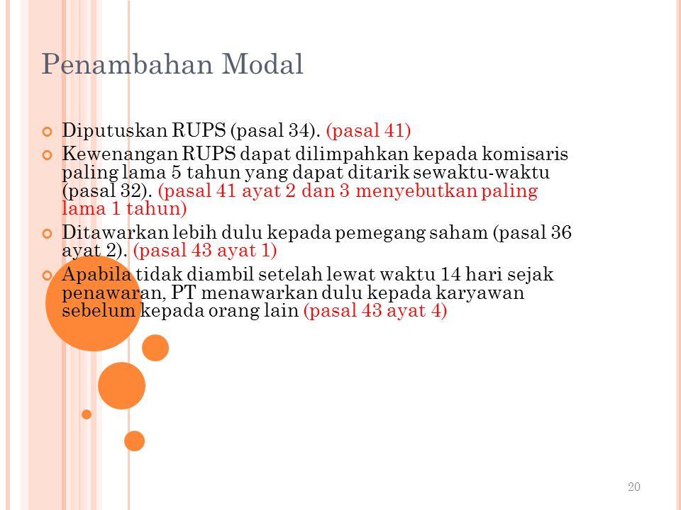 Penambahan Modal Diputuskan RUPS (pasal 34). (pasal 41)