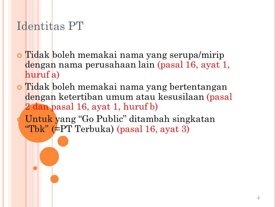 Identitas PT Tidak boleh memakai nama yang serupa/mirip dengan nama perusahaan lain (pasal 16, ayat 1, huruf a)