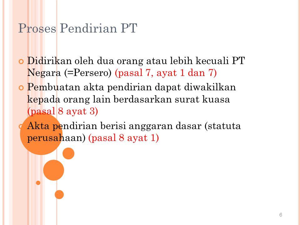 Proses Pendirian PT Didirikan oleh dua orang atau lebih kecuali PT Negara (=Persero) (pasal 7, ayat 1 dan 7)