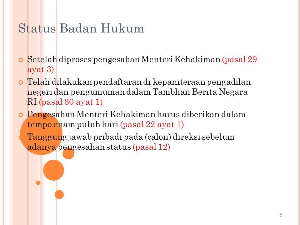Status Badan Hukum Setelah diproses pengesahan Menteri Kehakiman (pasal 29 ayat 3)