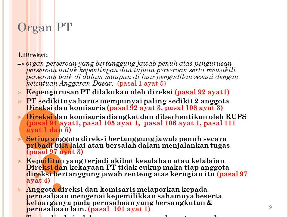 Organ PT Kepengurusan PT dilakukan oleh direksi (pasal 92 ayat1)