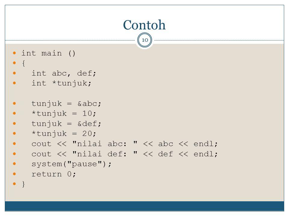 Contoh int main () { int abc, def; int *tunjuk; tunjuk = &abc;