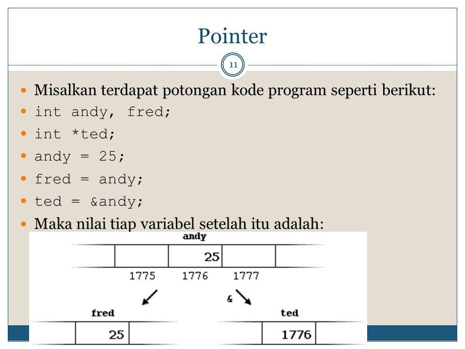 Pointer Misalkan terdapat potongan kode program seperti berikut: