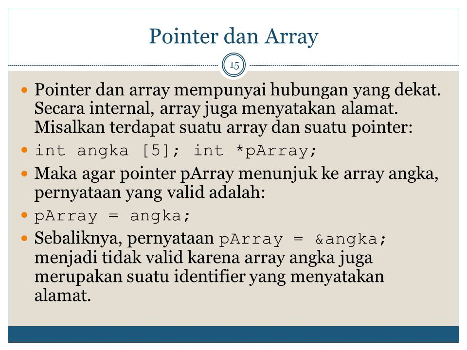Pointer dan Array