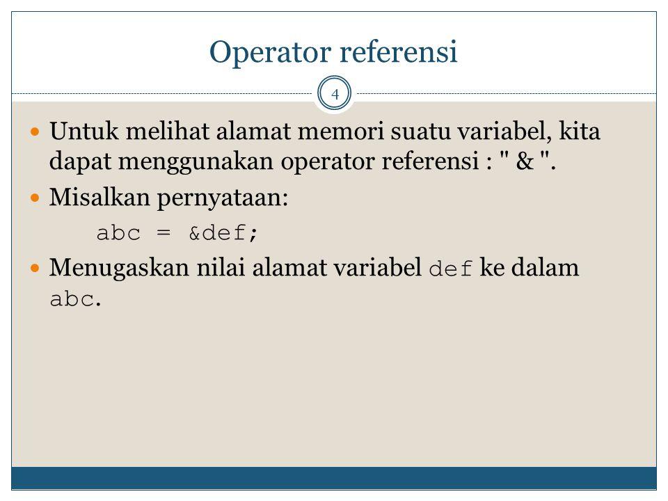 Operator referensi Untuk melihat alamat memori suatu variabel, kita dapat menggunakan operator referensi : & .