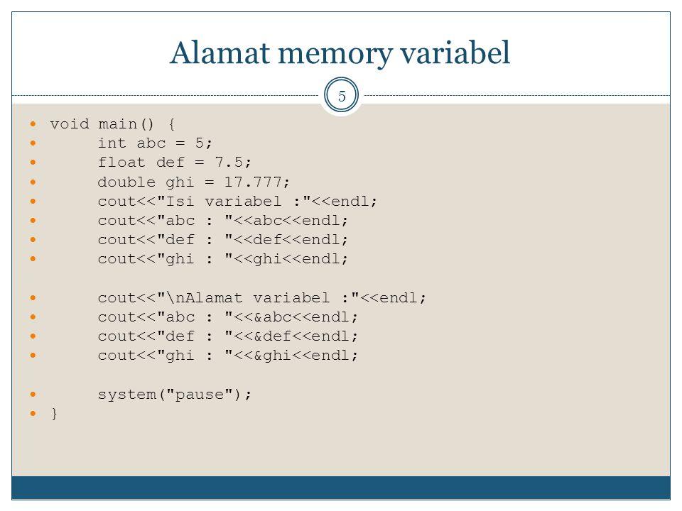 Alamat memory variabel