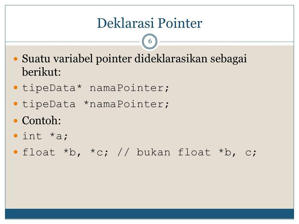 Deklarasi Pointer Suatu variabel pointer dideklarasikan sebagai berikut: tipeData* namaPointer; tipeData *namaPointer;
