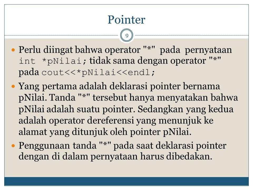 Pointer Perlu diingat bahwa operator * pada pernyataan int *pNilai; tidak sama dengan operator * pada cout<<*pNilai<<endl;
