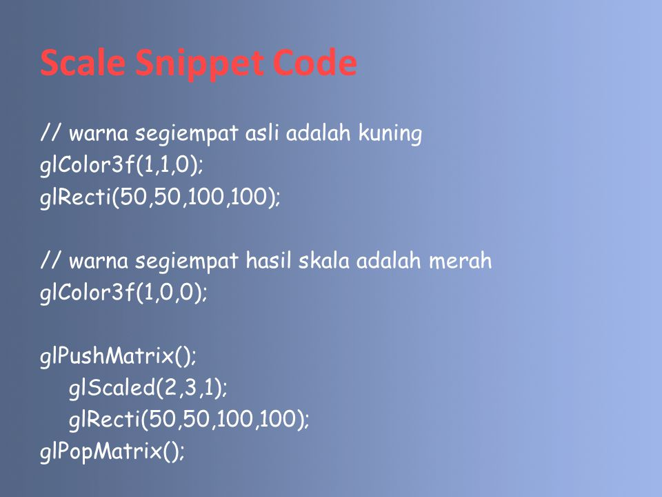 Scale Snippet Code