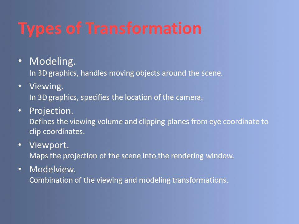 Types of Transformation