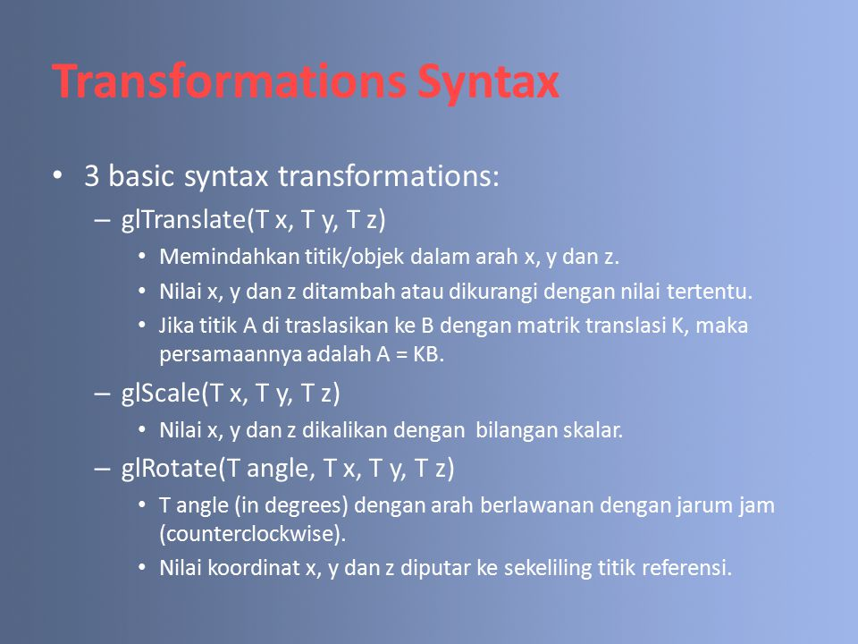Transformations Syntax