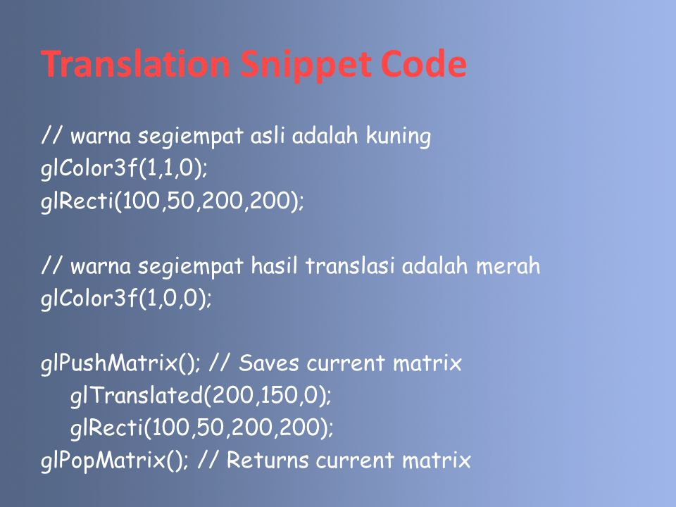 Translation Snippet Code
