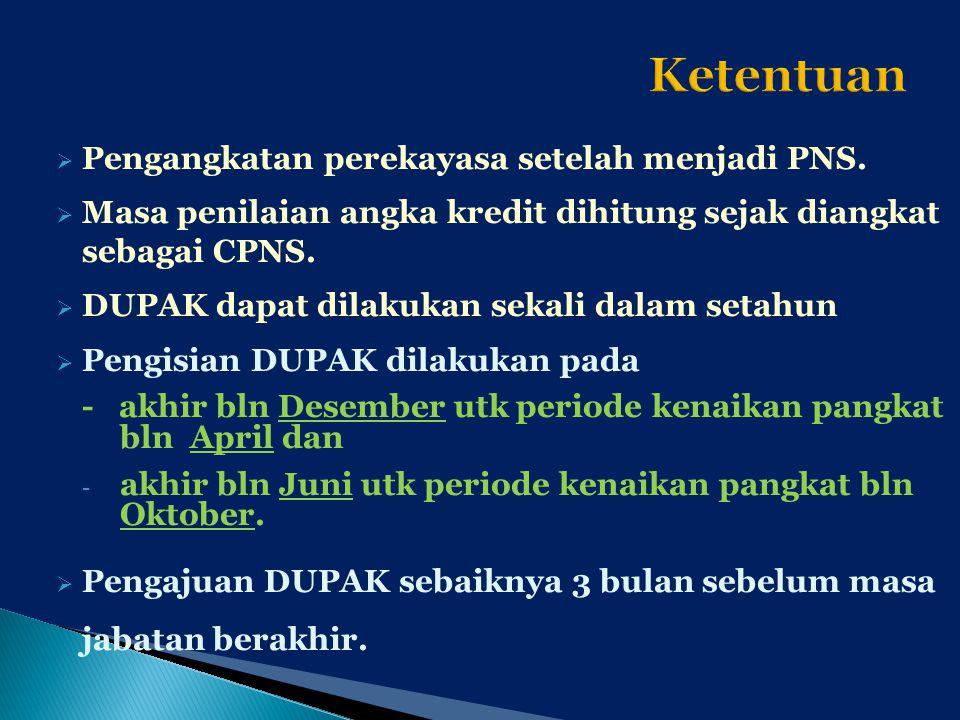 Ketentuan Pengangkatan perekayasa setelah menjadi PNS.
