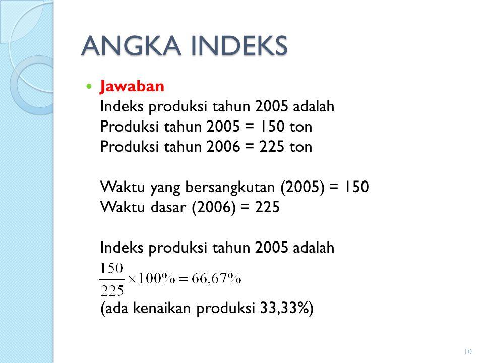 ANGKA INDEKS Jawaban Indeks produksi tahun 2005 adalah