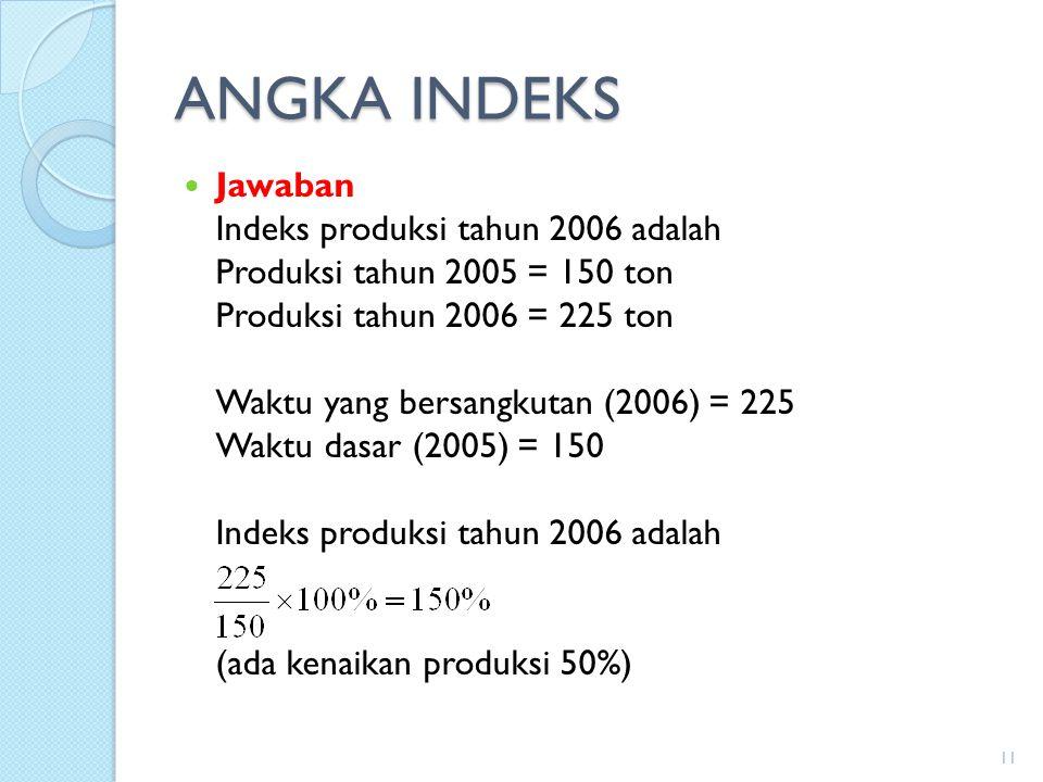 ANGKA INDEKS Jawaban Indeks produksi tahun 2006 adalah