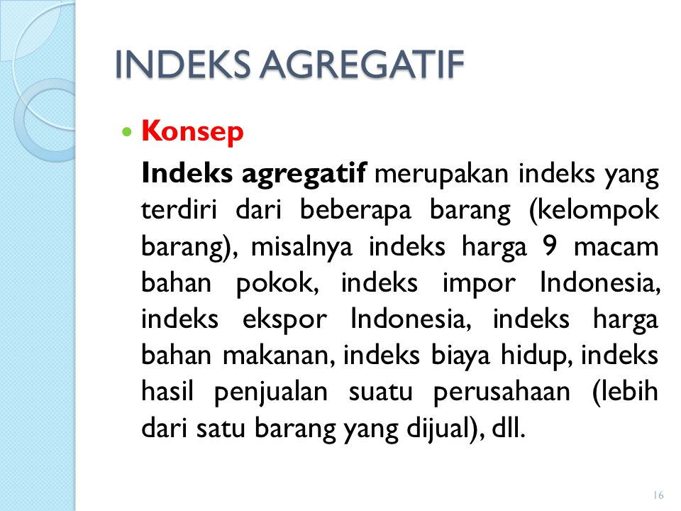INDEKS AGREGATIF Konsep