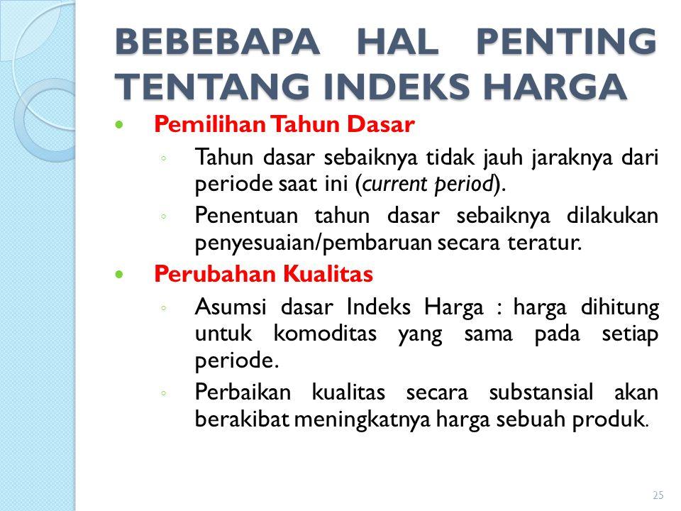 BEBEBAPA HAL PENTING TENTANG INDEKS HARGA