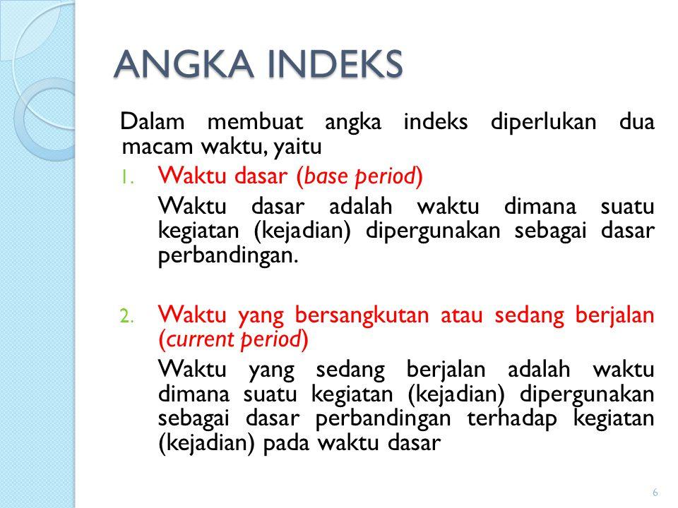 ANGKA INDEKS Dalam membuat angka indeks diperlukan dua macam waktu, yaitu. Waktu dasar (base period)