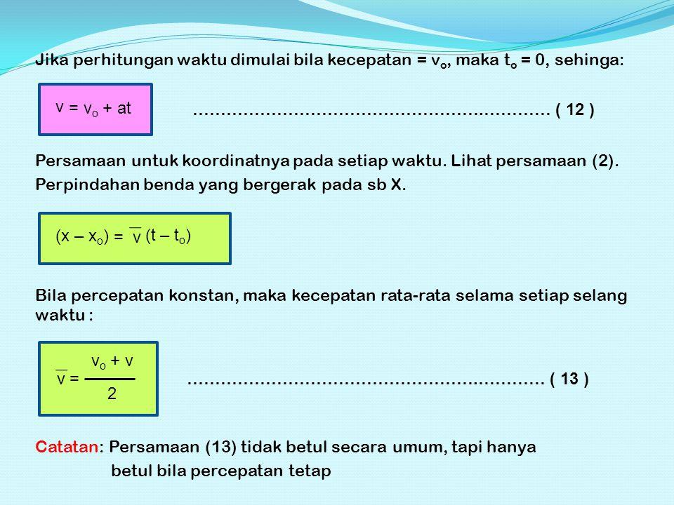 Jika perhitungan waktu dimulai bila kecepatan = vo, maka to = 0, sehinga: