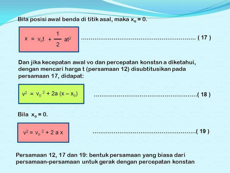 Bila posisi awal benda di titik asal, maka xo = 0.