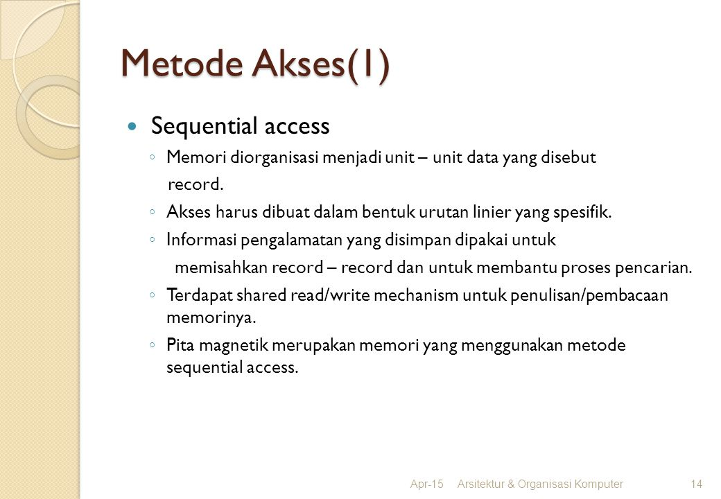 Metode Akses(1) Sequential access