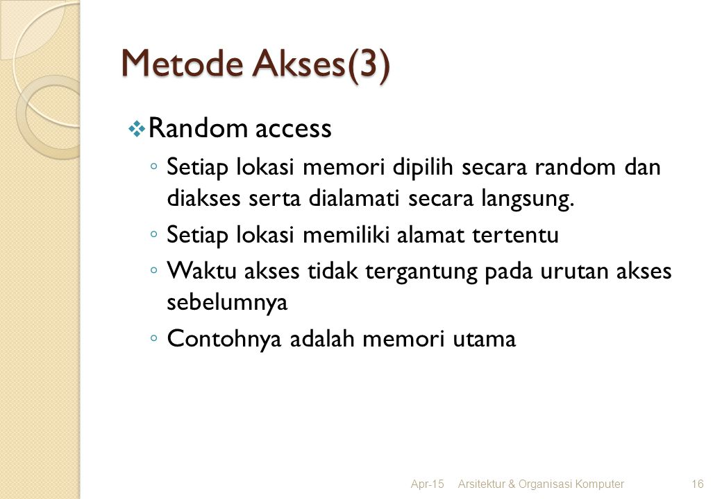 Metode Akses(3) Random access