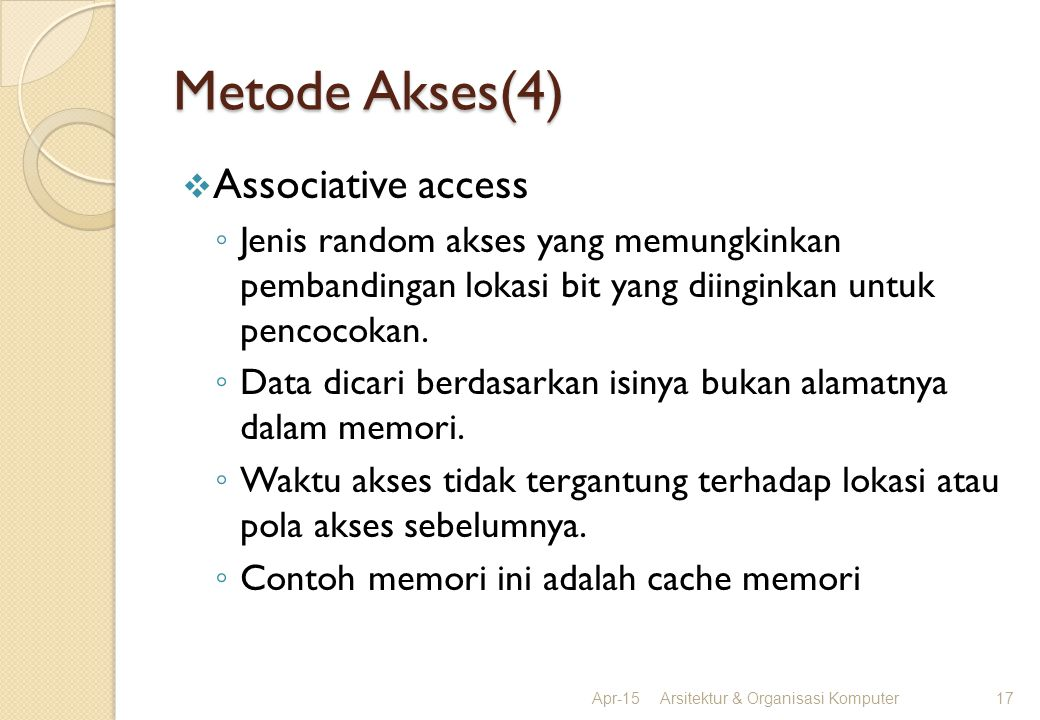 Metode Akses(4) Associative access