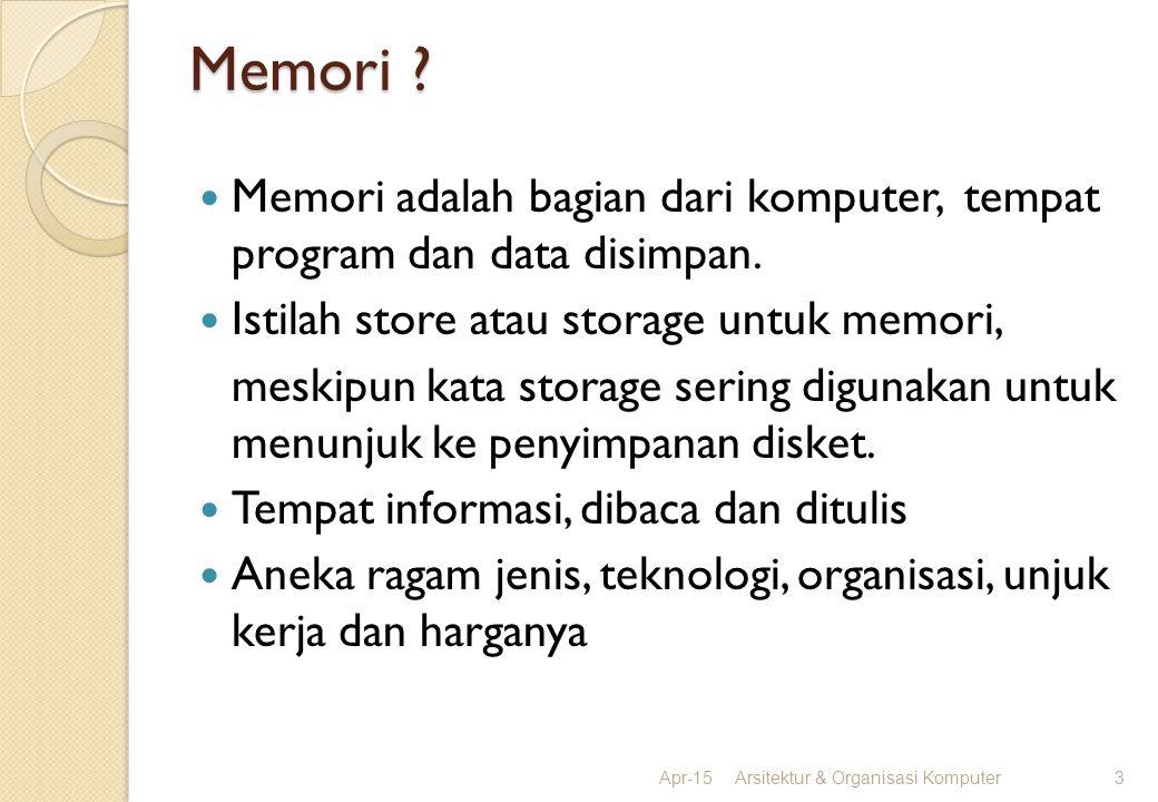 Memori Memori adalah bagian dari komputer, tempat program dan data disimpan. Istilah store atau storage untuk memori,