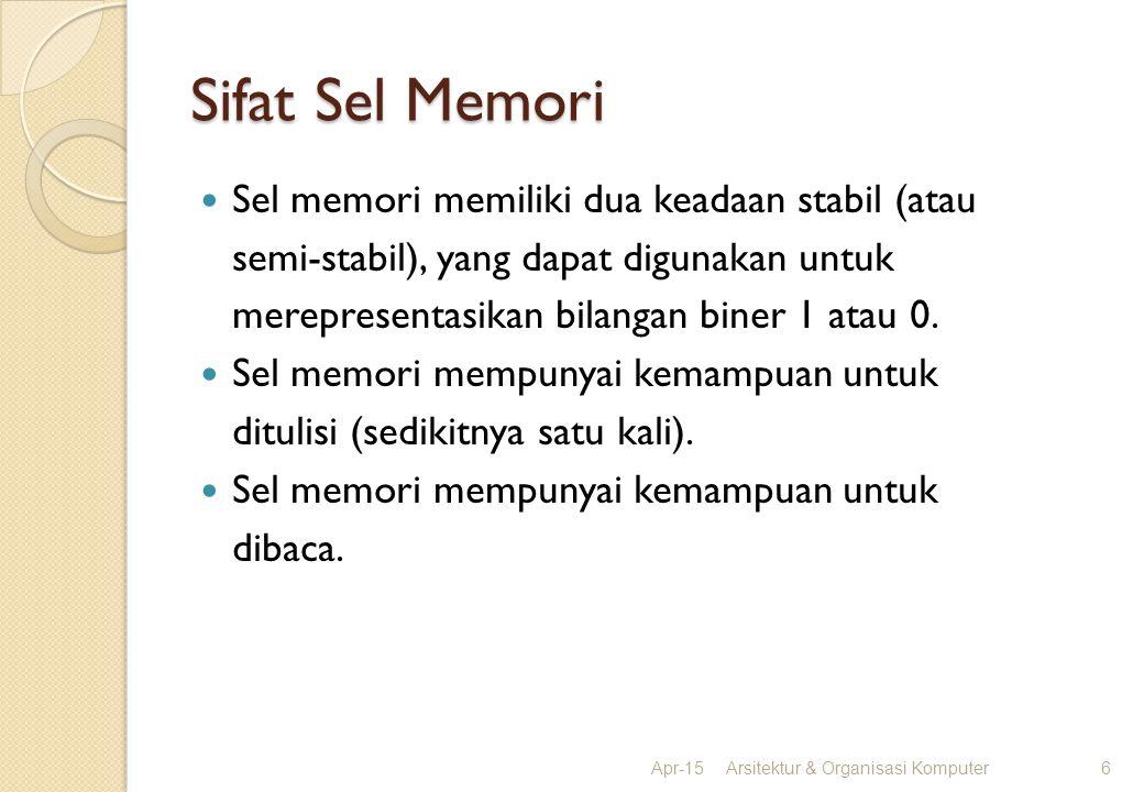Sifat Sel Memori Sel memori memiliki dua keadaan stabil (atau