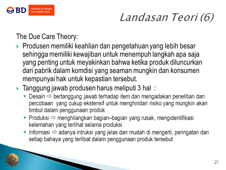 what characterizes the due care theory