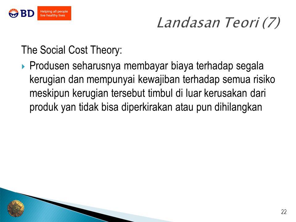 Landasan Teori (7) The Social Cost Theory: