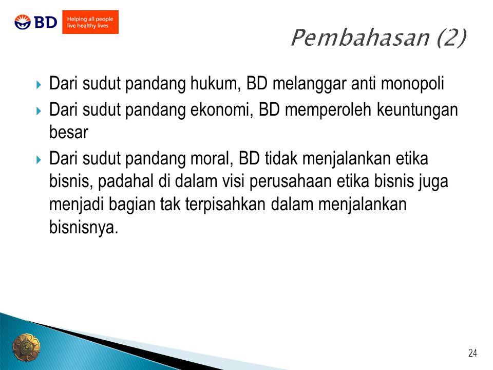 Pembahasan (2) Dari sudut pandang hukum, BD melanggar anti monopoli