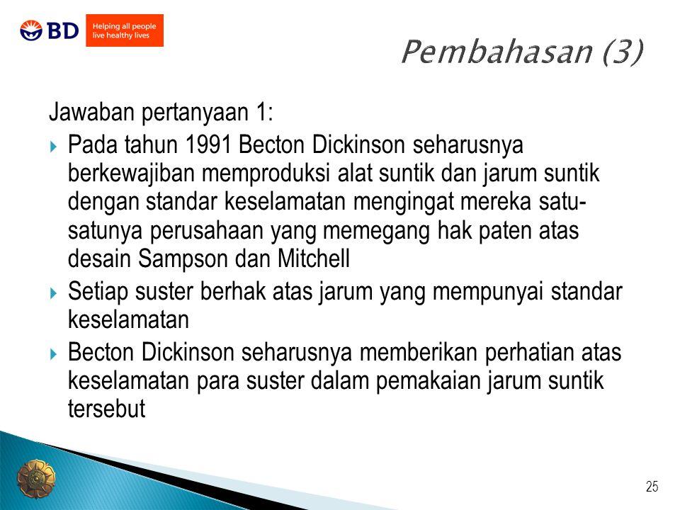 Pembahasan (3) Jawaban pertanyaan 1: