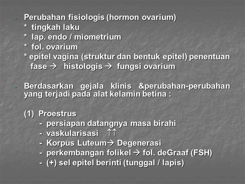 Perubahan fisiologis (hormon ovarium)