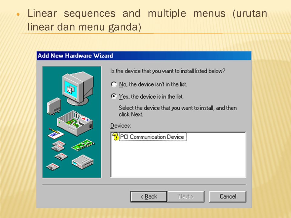 Linear sequences and multiple menus (urutan linear dan menu ganda)