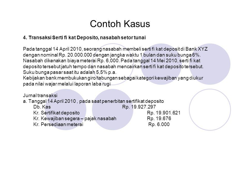Contoh Kasus 4. Transaksi Serti fi kat Deposito, nasabah setor tunai